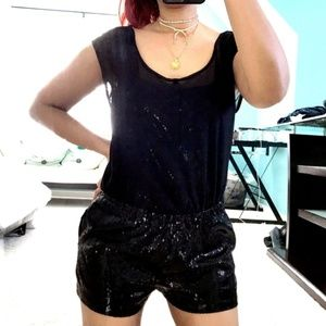 Urban Outfitters Black Sequin Holiday Romper